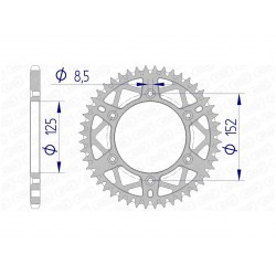 Couronne AFAM 49 dents alu pas 520 type 39300 Beta