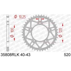 Couronne AFAM 43 dents acier ultra-light pas 520 type 35808RLK Aprilia RSV4R/RR/Factory