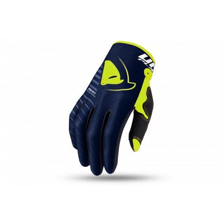 Gants motocross enfant UFO Skill Kimura bleu/jaune fluo taille S