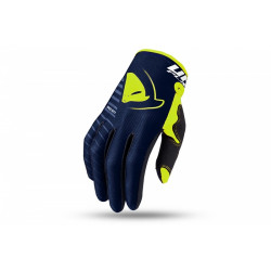 Gants motocross UFO Skill Kimura bleu/jaune fluo L