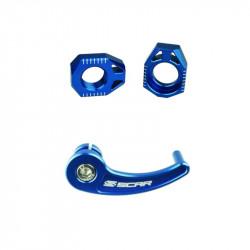 Kit tendeur de chaîne + tire-axe arrière SCAR bleu - Sherco