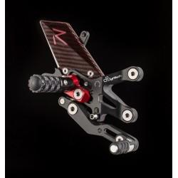 Commandes reculées réglables/repliables LIGHTECH Racing sélection standard et inversée noir/rouge Kawasaki ZX6R